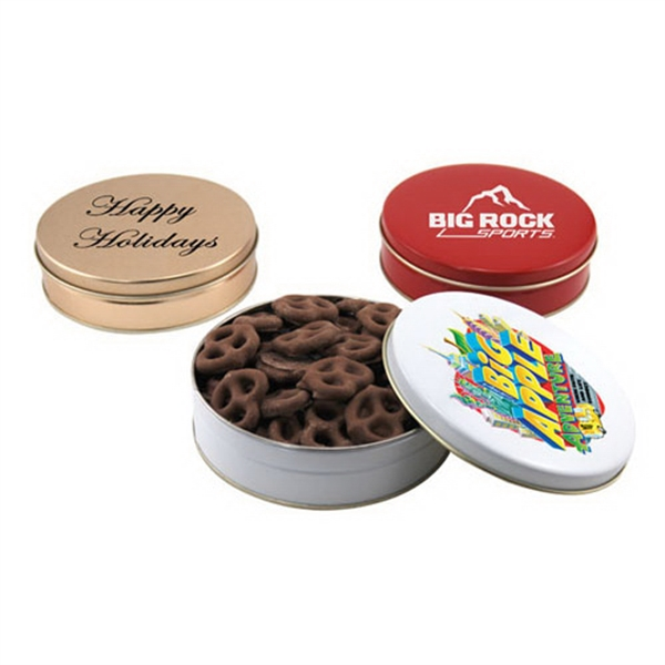 "Chocolate Covered Pretzels in a Round Tin with Lid-6"" D"