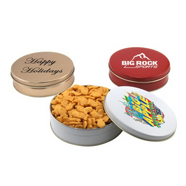 "Goldfish Crackers in a Round Tin with Lid-6"" D"
