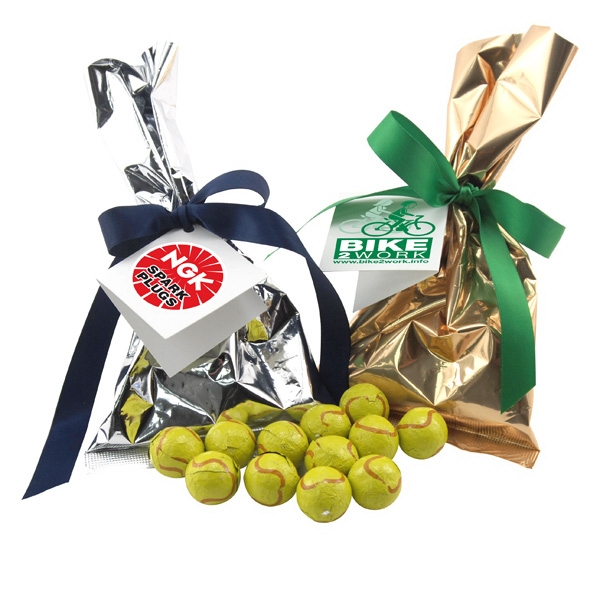 Chocolate Tennis Balls Favor/Mug Stuffer Bags with Ribbon