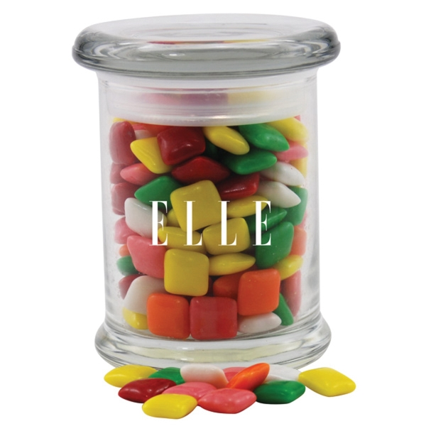 Mini Chicklets Gum in a Round Glass Jar with Lid