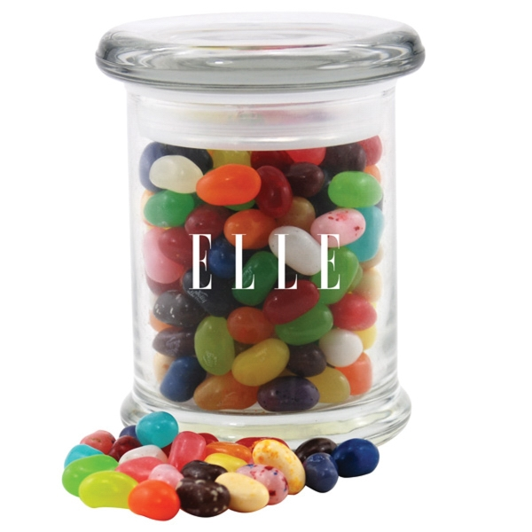 Jelly Bellys Candy in a Round Glass Jar with Lid