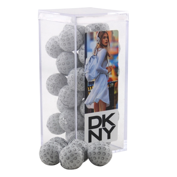 Chocolate Golf Balls in a Clear Acrylic Square Tall Box