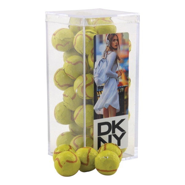 Chocolate Tennis Balls in a Clear Acrylic Square Tall Box