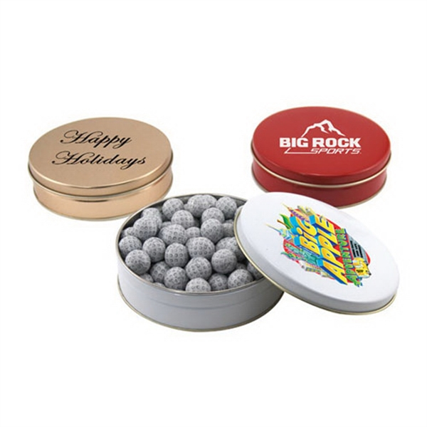 """Chocolate Golf Balls in a Round Tin with Lid-6"""" D"""