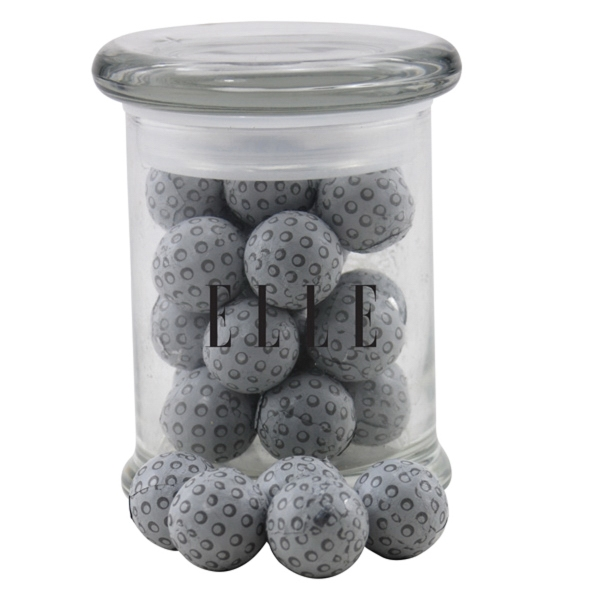 Chocolate Golf Balls in a Round Glass Jar with Lid