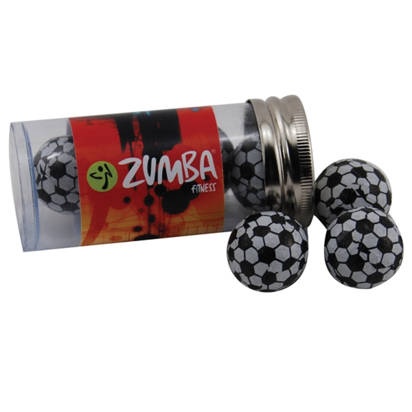 "Chocolate Soccer Balls in a 3 "" Plastic Tube with Metal Cap"