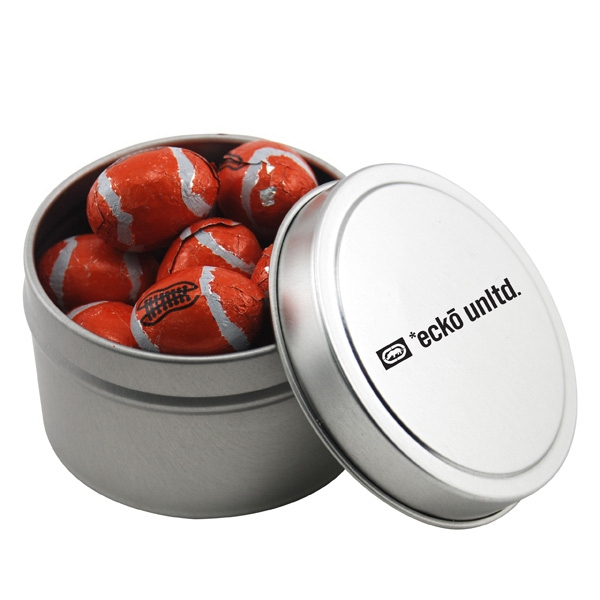 Round Metal Tin with Lid and Chocolate Footballs