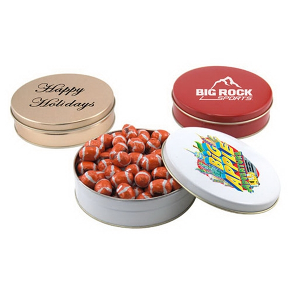 "Chocolate Footballs in a Round Tin with Lid-6"" D"