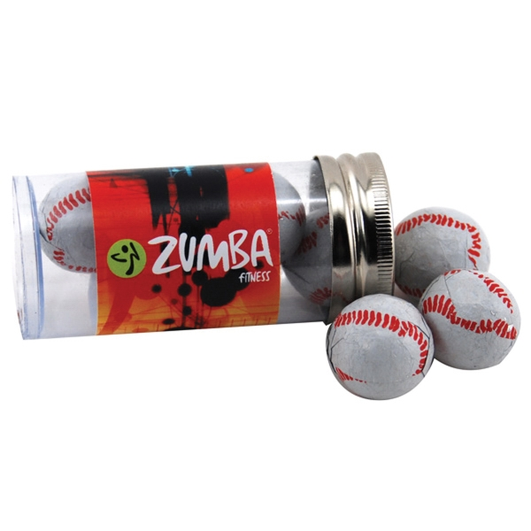 "Chocolate Baseballs in a 3 "" Plastic Tube with Metal Cap"