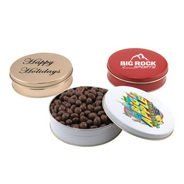 "Chocolate Covered Peanuts in a Round Tin with Lid-6"" D"