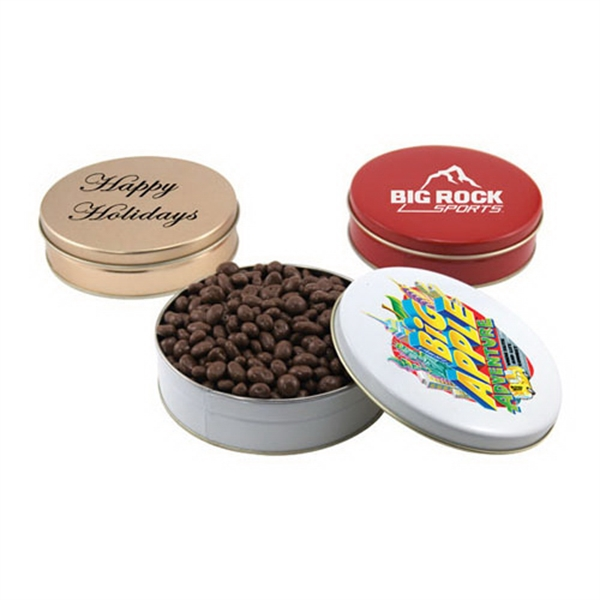 "Chocolate Covered Raisins in a Round Tin with Lid-6"" D"