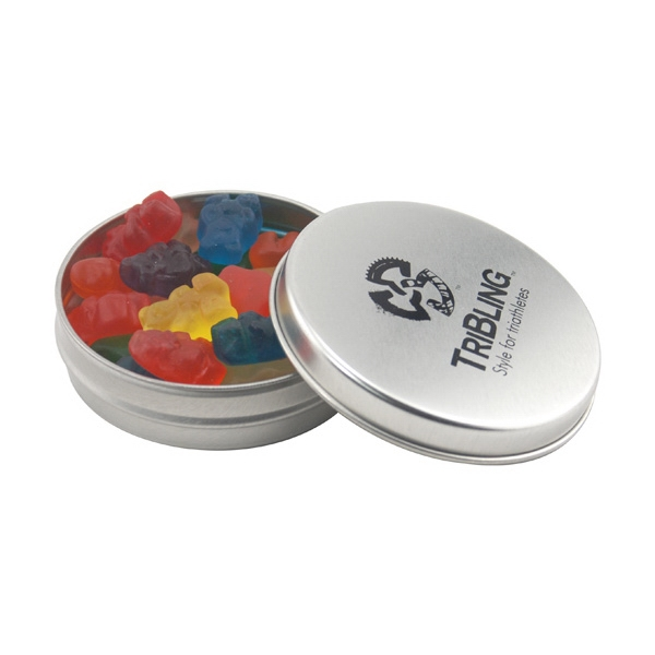 Round Metal Tin with Lid and Gummy Bears