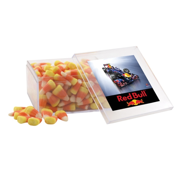 Candy Corn in a Clear Acrylic Large Box