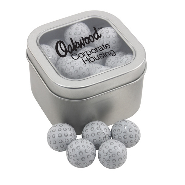 Large Tin with Window Lid and Chocolate Golf Balls