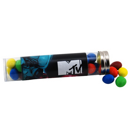 "Peanut M&M's in a 6 "" Plastic Tube with Metal Cap"