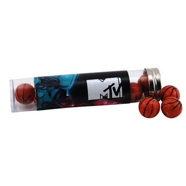 "Chocolate Basketballs in a 6 "" Plastic Tube with Metal Cap"