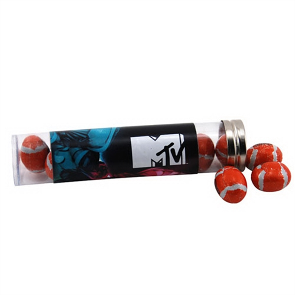 "Chocolate Footballs in a 6 "" Plastic Tube with Metal Cap"