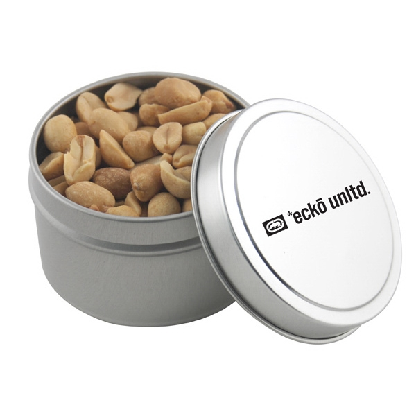 Round Metal Tin with Lid and Peanuts