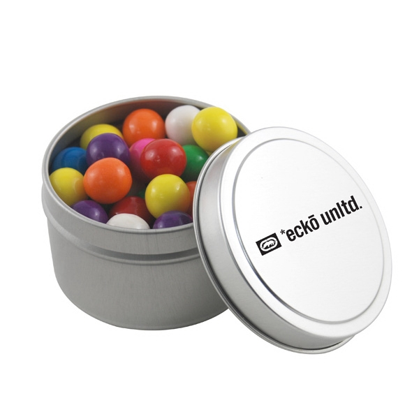 Round Metal Tin with Lid and Gumballs
