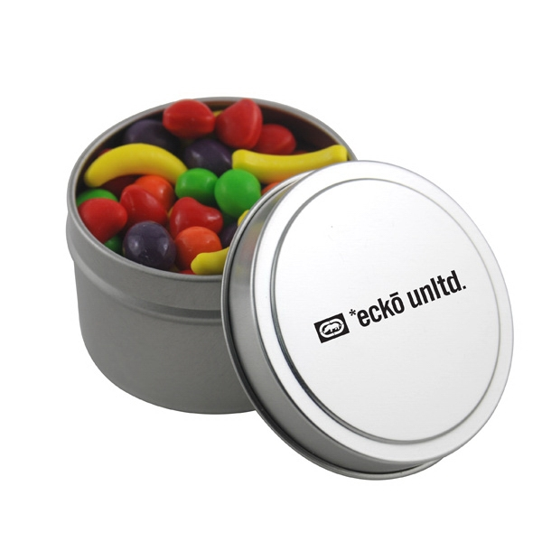 Round Metal Tin with Lid and Runts