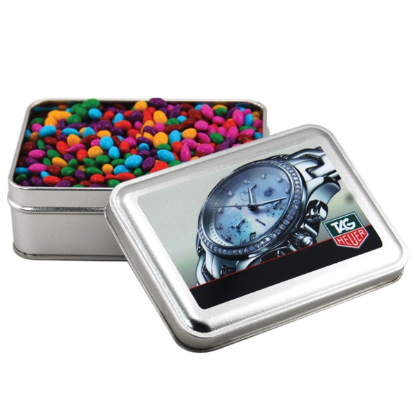 Chocolate Sunflower Seeds in a metal gift box with lid
