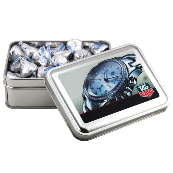 Hershey Kisses in a metal gift box with lid