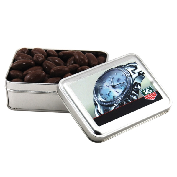 Chocolate Covered Almonds in a metal gift box with lid