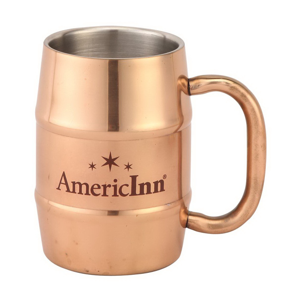 17 oz. Copper Color Plated Stainless Steel Beer Barrel Mug