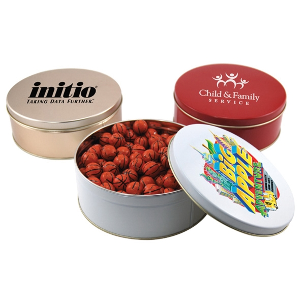 "Chocolate Basketballs in a Round Tin with Lid-7.25"" D"