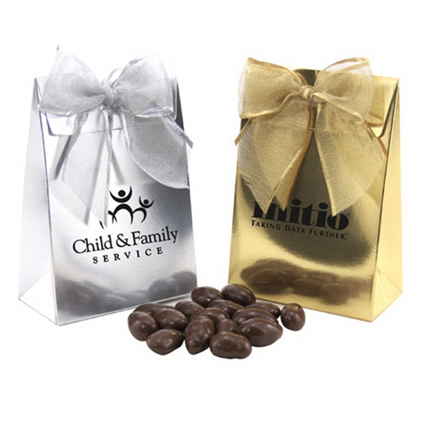 Chocolate Covered Almonds in a Stand Up Gift Box with Bow