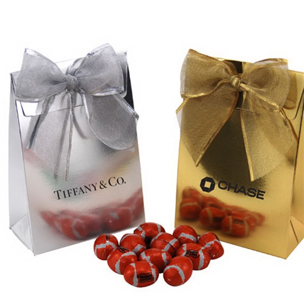 Chocolate Footballs  in a Stand Up Gift Box with Bow