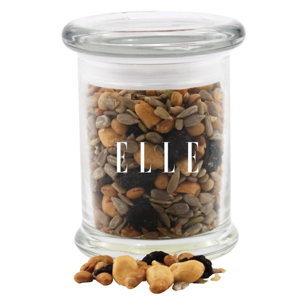 Trail Mix in a Round Glass Jar with Lid