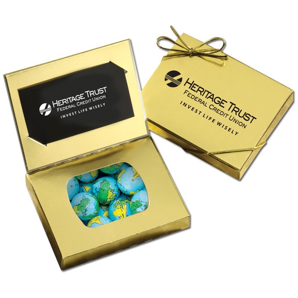 Gold Credit Card Gift Box with Chocolate Globes