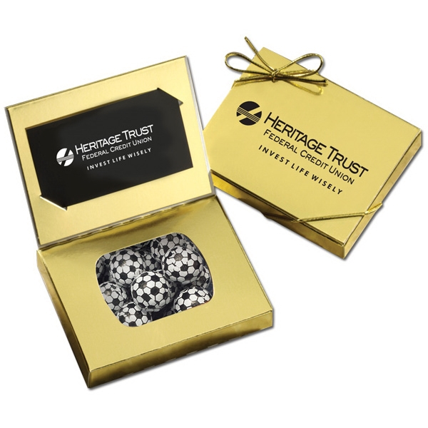 Gold Credit Card Gift Box with Chocolate Soccer Balls