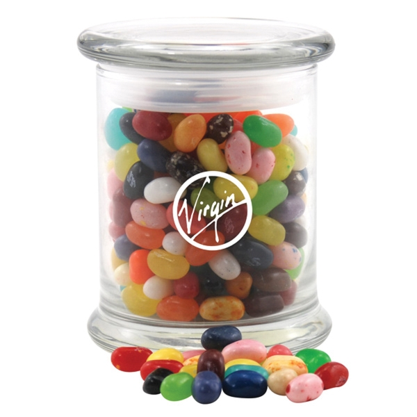 Jelly Bellys Candy in a Large Round Glass Jar with Lid