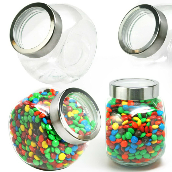 Desktop Glass Jar Large See Thru Lid with Hard Candy