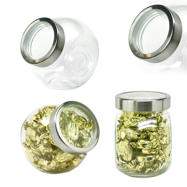 Desktop Glass Jar Small See Thru Lid with Cashews