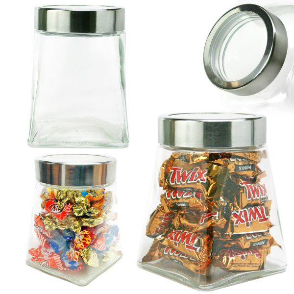 Pyramid Shape Glass Jar with See Thru Lid Hard Candy
