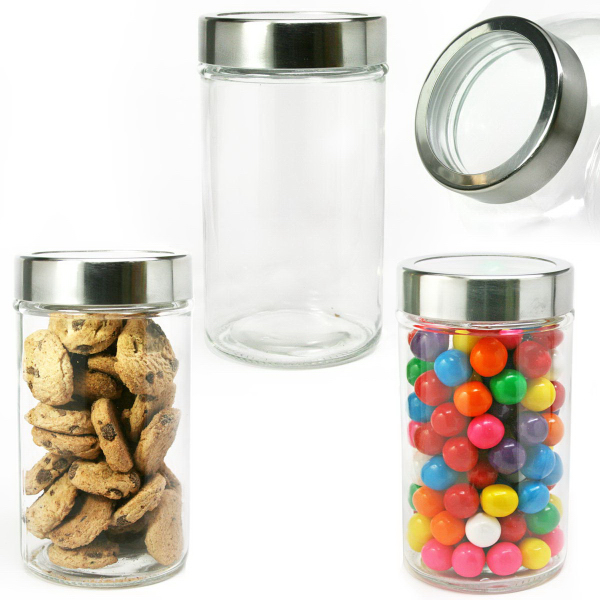 Modern Round Glass Jar with See Thru Lid w/ Jelly Beans
