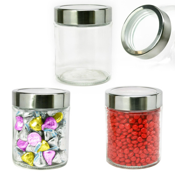 Modern Round Glass Jar Small filled with Hard Candy
