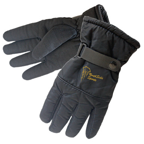 Black Water-resistant Winter Glove with Gripped Palm & Finge
