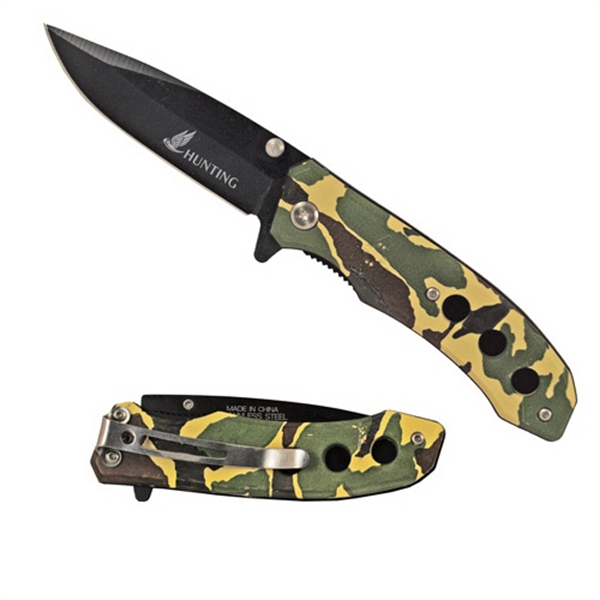 Camo Handle Stainless Steel Pocket Lock Knife