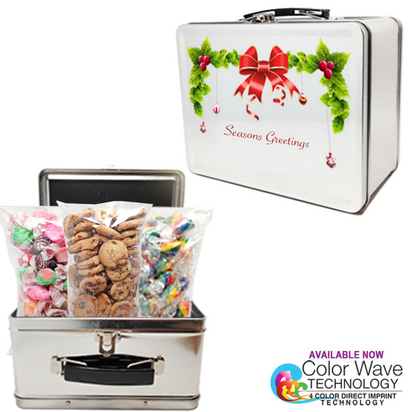 Gourmet Lunch Box Tin Retro Look Holiday Gifts w/ Cookies