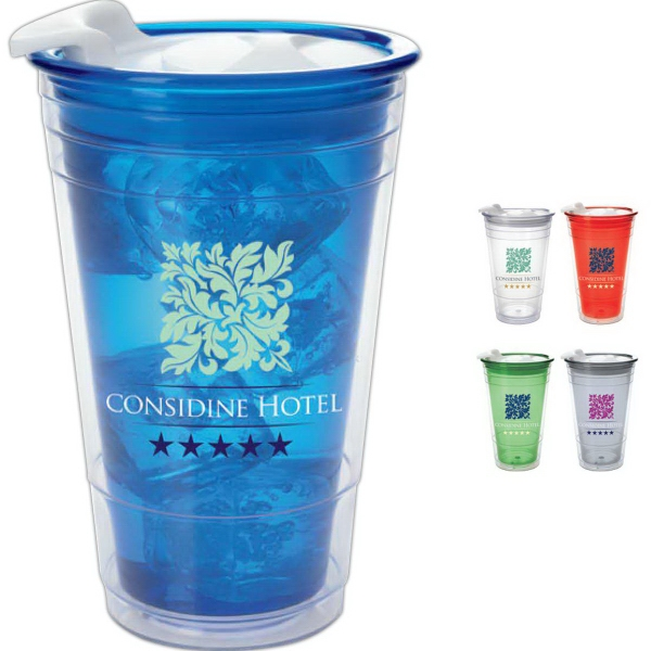 Double Wall Party Cup with Lid - 16 oz