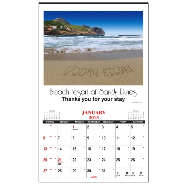 In the image personalized wall calendar with 1 image