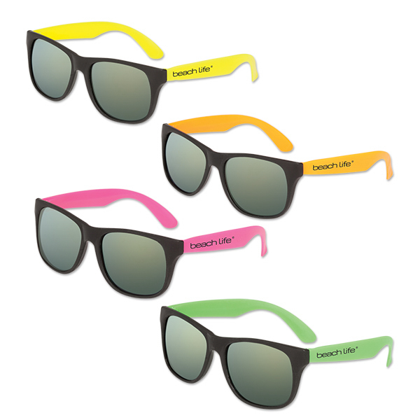Mirrored Lens Classic Neon Sunglasses