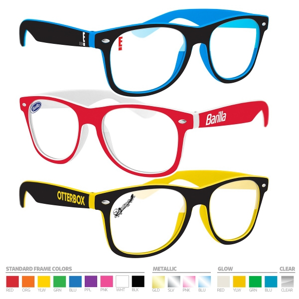 Eyeglasses with a customized lens and two tone fram