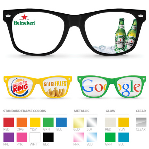Eyeglasses with full-color direct-to-lens imprint.