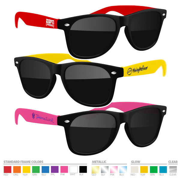 Two-tone Sunglasses with Side Imprint, no setups!