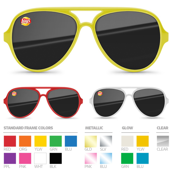 Aviator Sunglasses (UV400) with full color, corner imprint